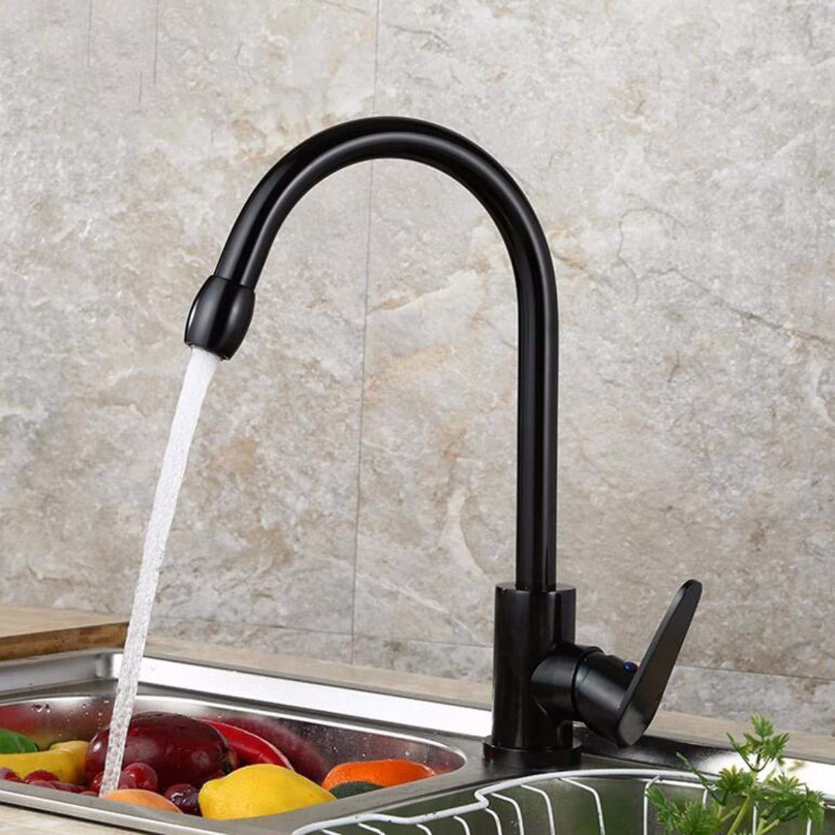 Kitchen Faucet Space Aluminum Kitchen Wash Vegetable Basin Faucet Black Hot and Cold Faucet Faucet,A