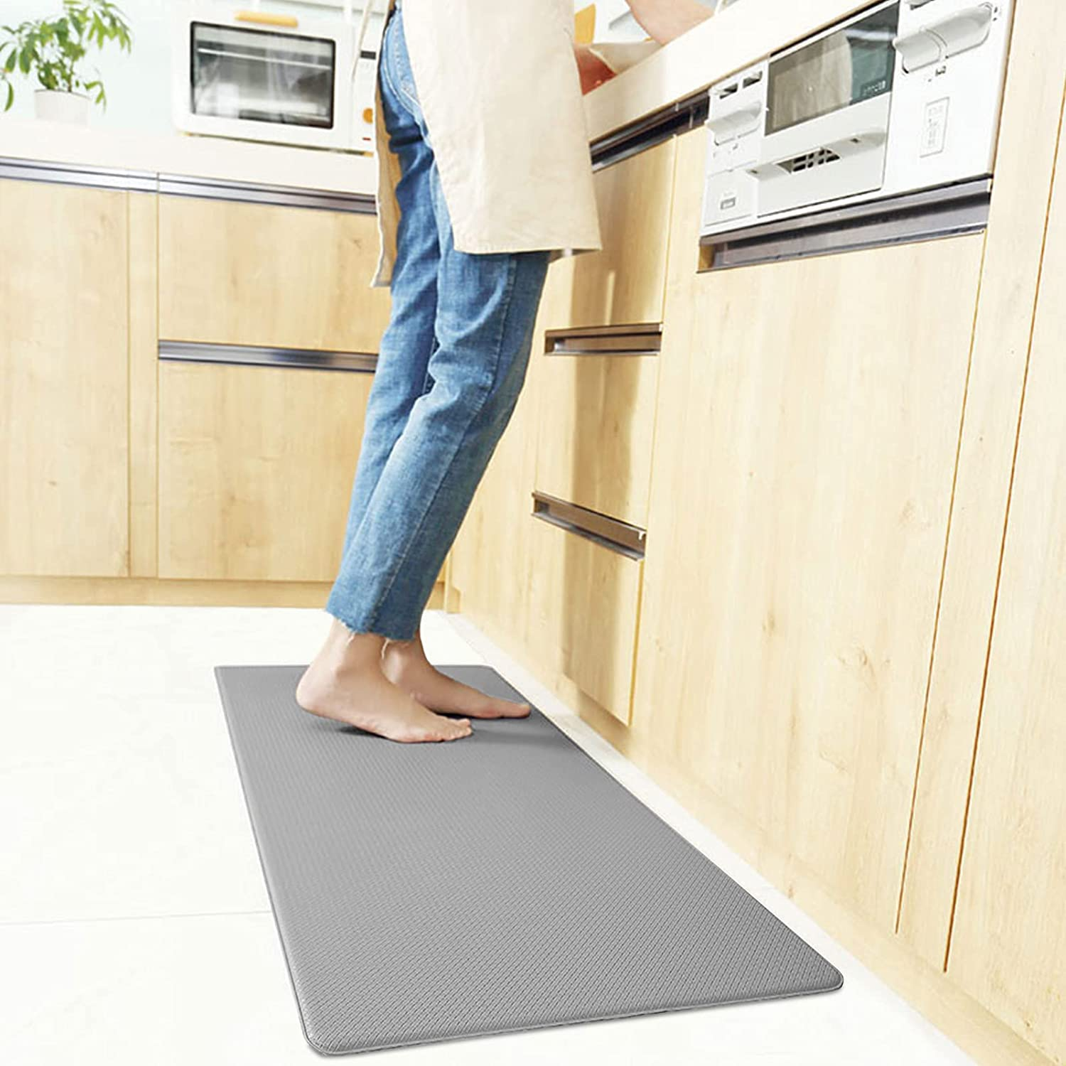 LUXEAR Anti Fatigue kitchen Mat - Waterproof Anti Fatigue Floor Mat with Non-Slip Bottom - Cushioned Comfort Floor Mat - Comfort at Kitchen, Home, Office, Laundry Room - Gray