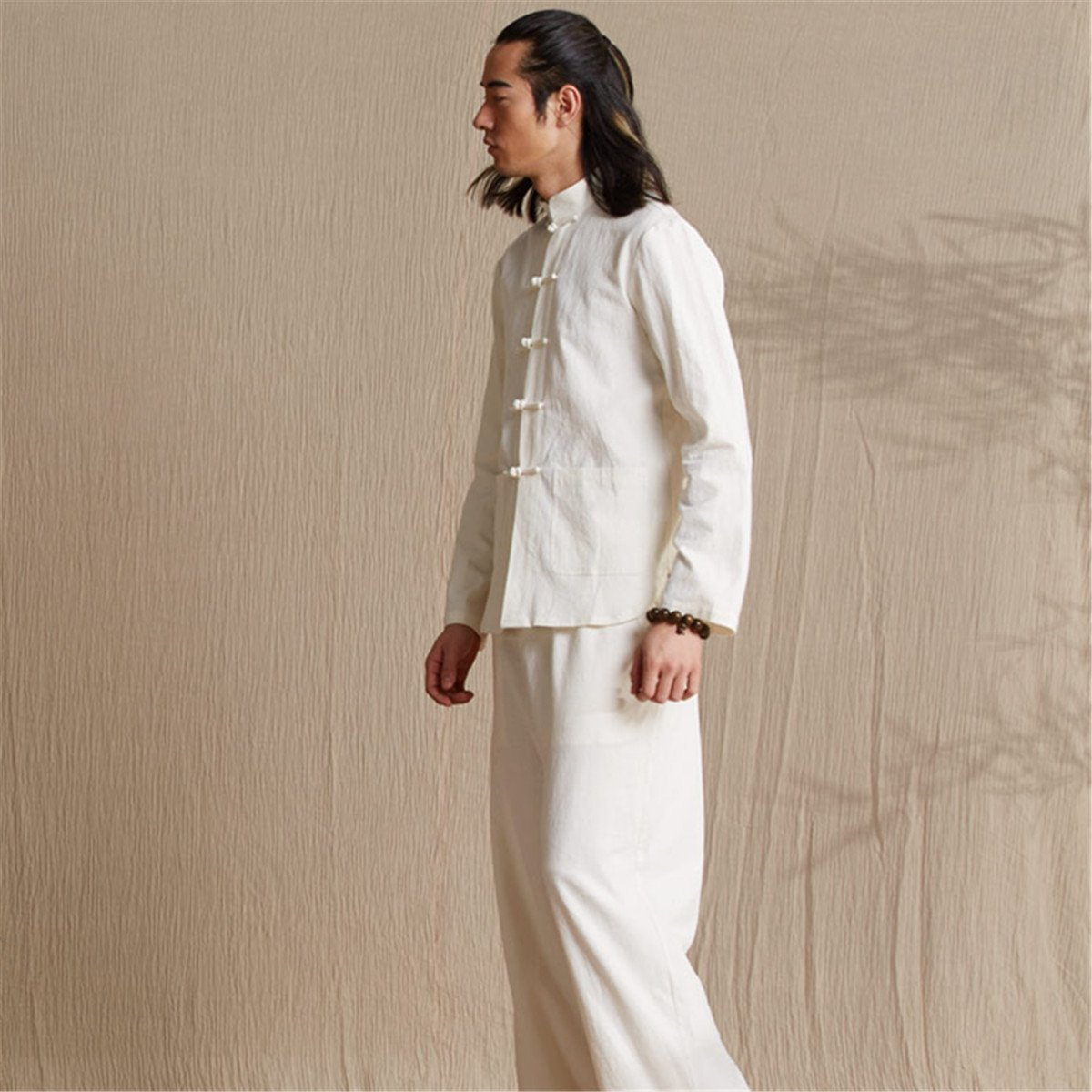WEISAN Men Chinese Retro Stand Collar Tang Suit Cotton Linen Kung Fu Costume Jacket by WEISAN (Image #6)
