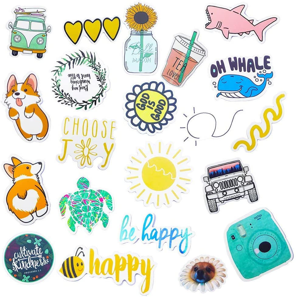 Hrayipt Vsco Stickers for Water Bottle 50 Pcs Trendy Stickers Waterproof Cute Aesthetic Laptop Luggage Stickers Pack for Girls Teens Kids