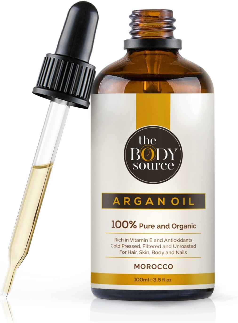 The Body Source - Puro Aceite de Argán 100% Orgánico, Rico en vitamina E y Antioxidantes Adecuados para el Cabello, la Piel, el Cuerpo y las Uñas, 100ml