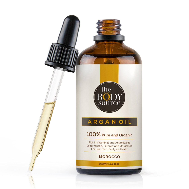 Puro aceite de argán 100% orgánico, prensado en frío, filtrado y sin quemar, para pelo, piel, barba, cuerpo y uñas, rico en vitamina E y antioxidantes product image