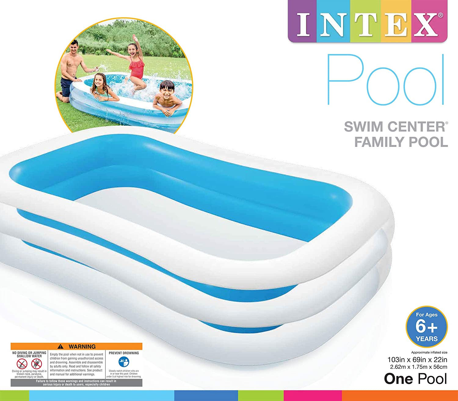 Intex 56483NP - Piscina hinchable rectangular 262 x 175 x 56 cm, 770 litros (Colores surtidos: azul o verde)