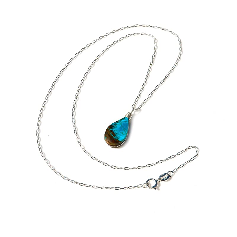 """Details about  /Beautiful Stone Necklace Large Teardrop Shaped Pendant with 18/"""" Silver Chain"""