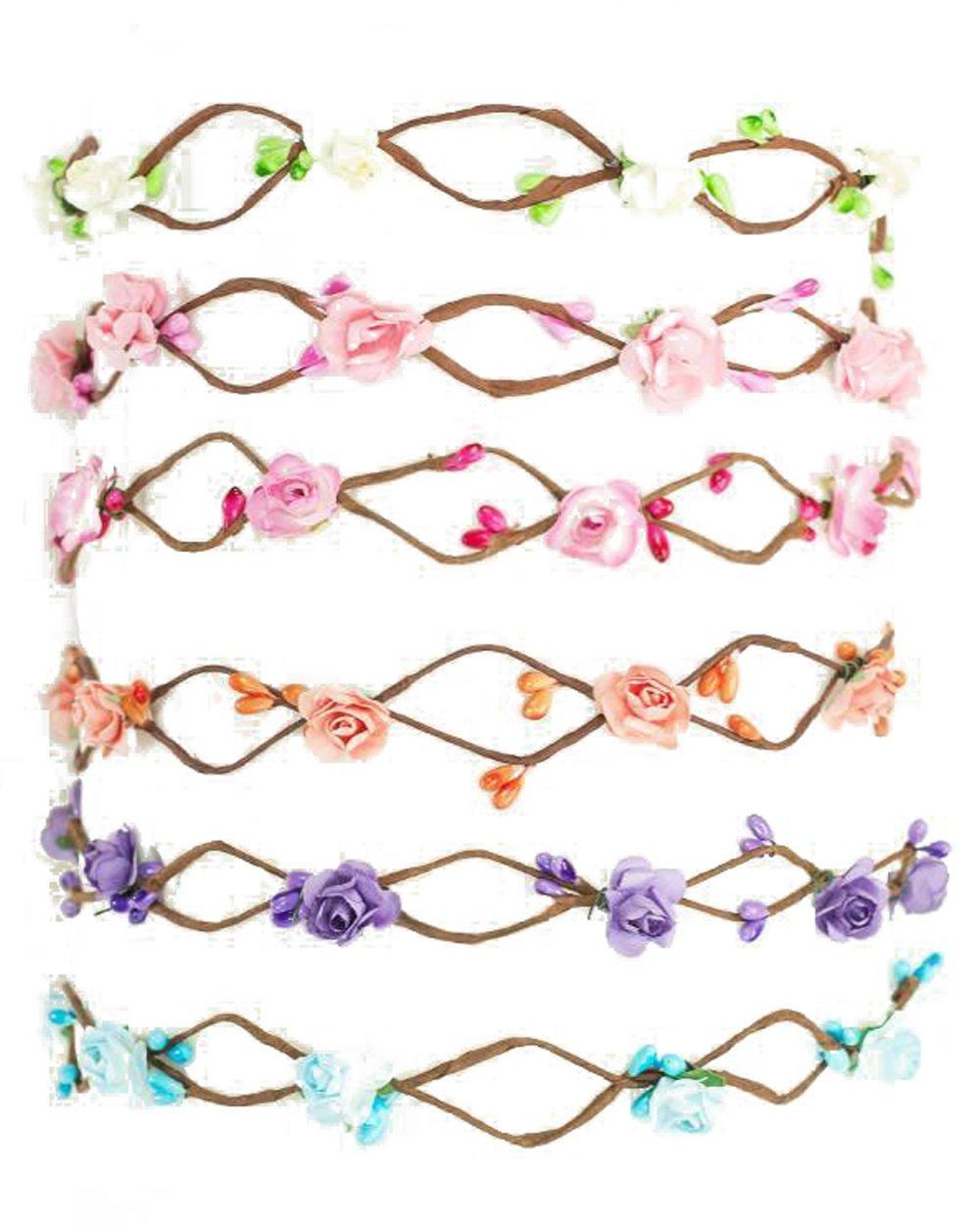 Boho Flower Crown for Bride and Bridesmaid Bachelorette Floral Headband Flower Wreath (6 Pack Bundle: 1 of Each Color (White, Light Pink, Dark Pink, Purple, Blue, Peach), 6)