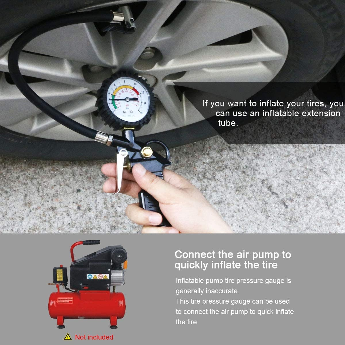 Uraqt Air Pressure Gauge Tyre Inflator Tyre Pressure Gauge 220 Psi Tyre Inflator Gauge Multifunction Air Pressure Gauge With Valve Core Tool Compressor Accessories Black 3 Black Auto