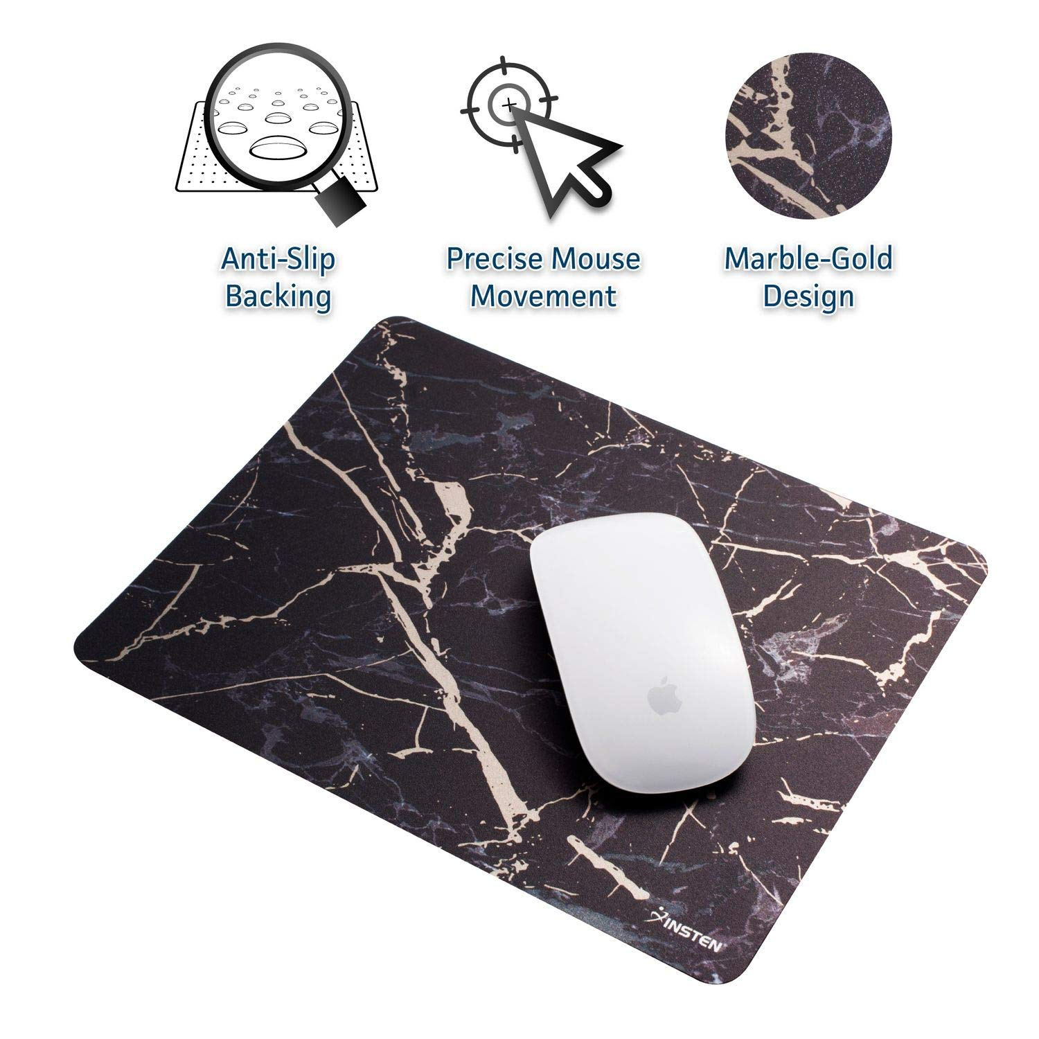 Insten Shiny Marble Mouse Pad - Black/Gold Marble, Premium Ultra Slim Hard Plastic, Silky Smooth & Super Light w/Anti Slip Backing, Rectangle Mat for Desktops, PC & Laptops - 9.45 X 7.48 eForCity