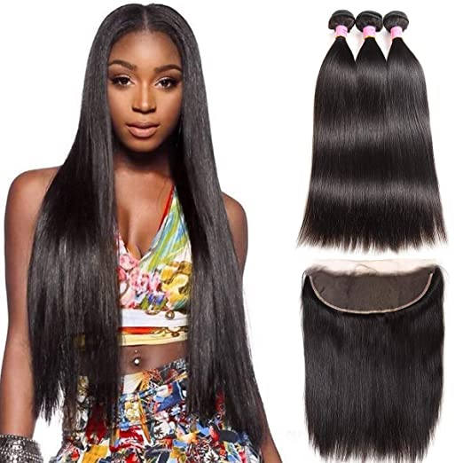 Amazon.com : ZILING Brazilian Straight Virgin Hair Lace Frontal Closure with Bundles Natural Black Straight Human Hair Weave 4 Bundles with Closure (10 12 ...