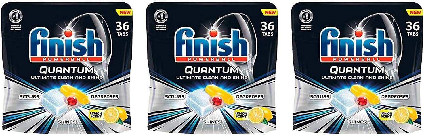 Finish Quantum Dishwasher Detergent, Ultimate Clean & Shine Powerball Dishwashing Tablets, Lemon Scent, 36 Count (Pack of 3)