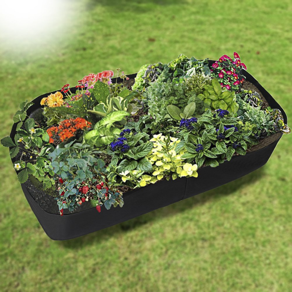 pannow Fabric Raised Planting Bed, Garden Grow Bags Herb Flower Vegetable Plants Bed Rectangle Planter for Plants Flowers and Vegetables 3 x 6 Feet