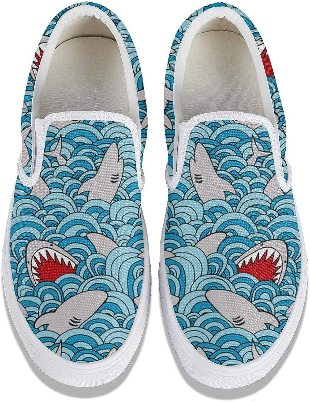 Retro Shark Horrible Classic Women Canvas Slip-On Shoes Sneaker