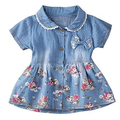 575fe88c17966 Tonsee ベビー服 女の子 デニム ドレス ガールズ 可愛い ワンピース 花柄 半袖 赤ちゃん服 プリンセスドレス 70CM