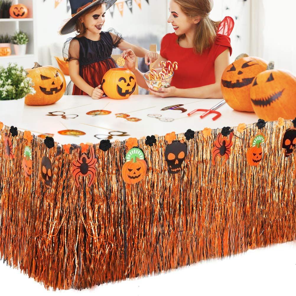 FOCCTS Halloween Luau Grass Table Skirt for Tropical Garden Beach Summer Party Decorations,Events, Birthdays, Celebration