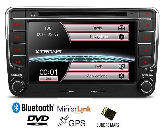 XTRONS Radio estéreo, DVD, GPS para coche, doble DIN, pantalla táctil HD de 7