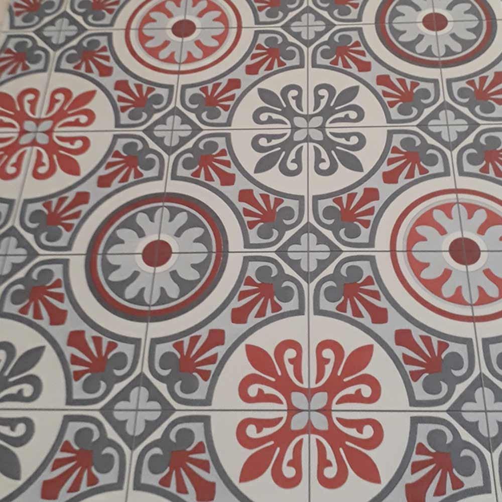 livingfloor/® PVC Bodenbelag im Boho Orient Stil Fliesendekor Rot//Grau 2m Breite L/änge variabel Meterware Muster Gr/ö/ße:0.20x0.20 m