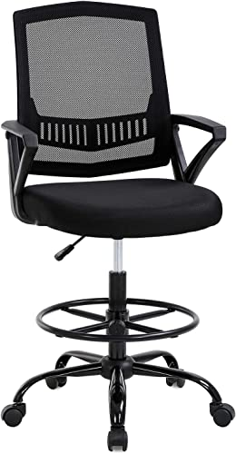 Drafting Chair Tall Office Chair Desk Chair Adjustable Height with Lumbar Support Arms Footrest Mid Back Swivel Rolling Executive Mesh Computer Chair for Women Adults Standing Desk, Black