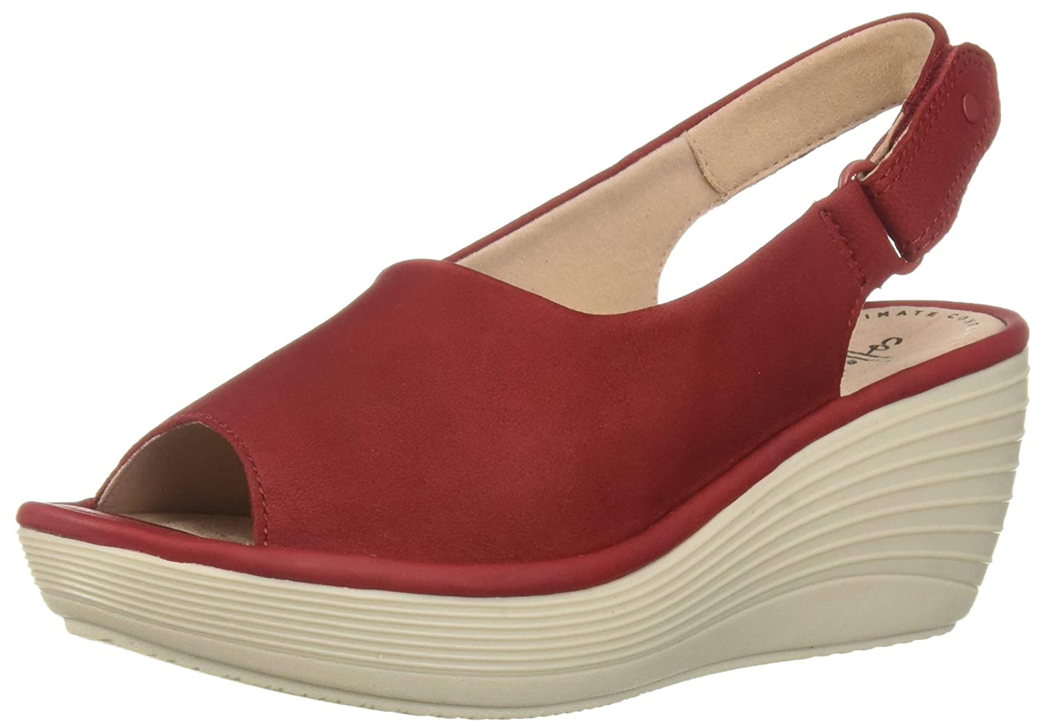 Red Nubuck Clarks Womens Reedly Shaina Wedge Sandal