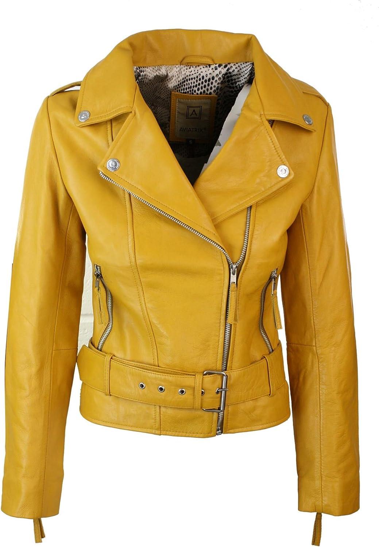 Aviatrix Chaqueta de Cuero autentico, para Mujer, Estilo Biker, con Cremallera, Color Marron Amarillo