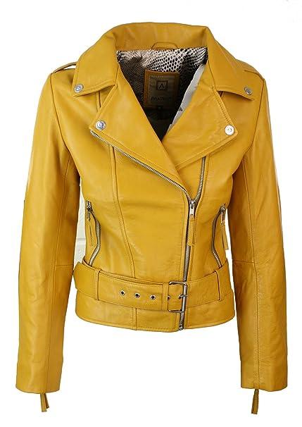 free shipping be9a1 110a4 Giaccca da Donna Chiodo in Vera Pelle Stile Biker Vintage con Cintura in  Vita giallo