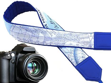 Mapa del mundo cámara Correa. Royal azul correa de cámara réflex ...