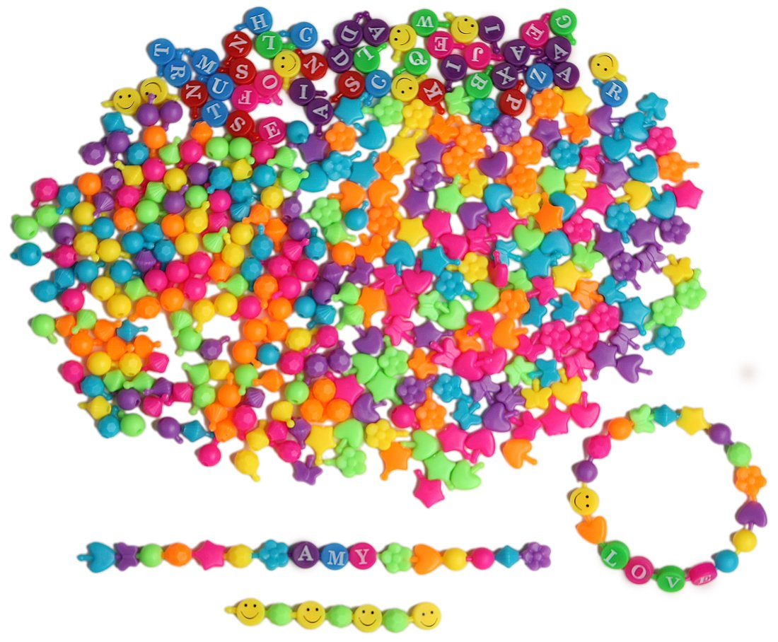 LightShine Products 390 Piece Bulk Pop Beads Assortment Bundle for Kids Jewelry Making Mixed