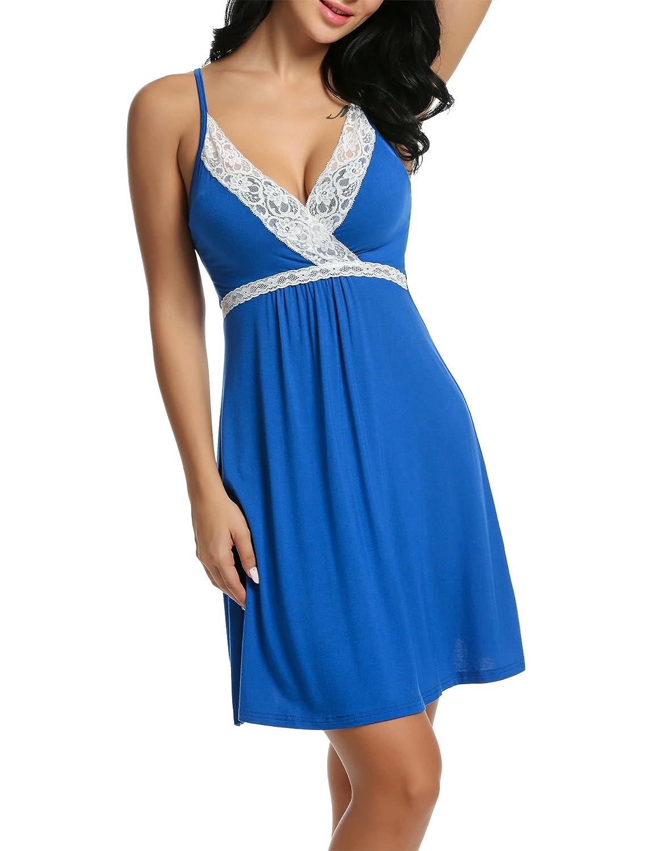 HOTOUCH Women V Neck Sleeveless Adjustable Strap Lace Full Slip Chemise Lounge Dress *AHK005063