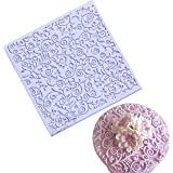 Anyana square sugar edible vine lace mold cake silicone Embossing Mat Textured fondant impression lace mat decorating…