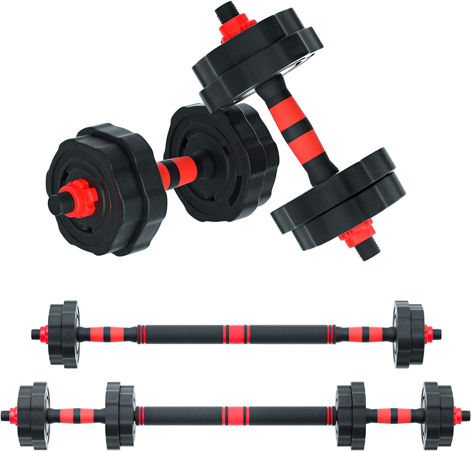 Arespark Adjustable Dumbbell Barbell, 33lbs Free Weights Fitness Barbell Set, Detachable Barbell Set Combination Weightlifting 3 in 1 Fitness Equipment with Connecting Rod for Gym Home Office