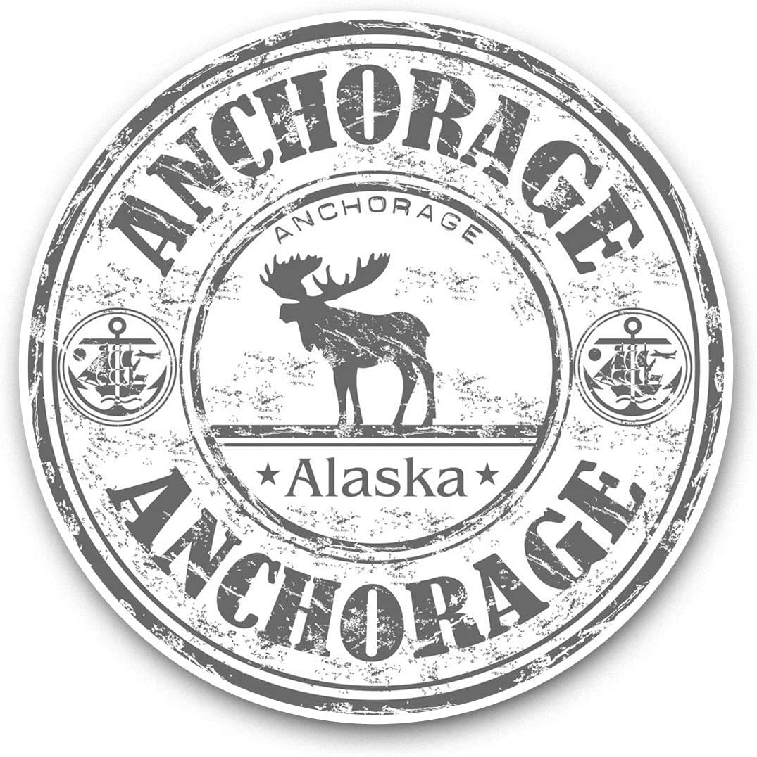 Vinyl Stickers (Set of 2) 15cm Black & White - Anchorage Alaska Moose Travel Stamp Laptop Luggage Tablet #39945
