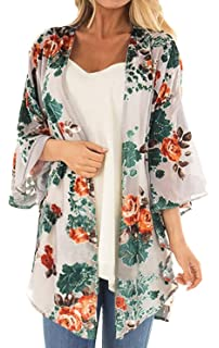 25f98f7aa Women's Floral Print Puff Sleeve Kimono Cardigan Loose Cover Up Casual  Blouse Tops