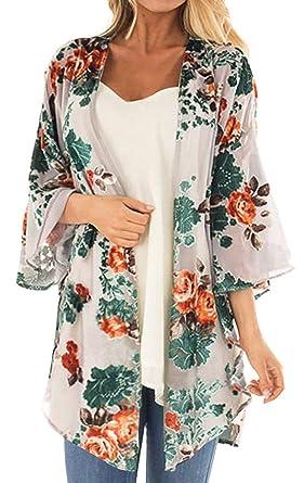d0f79f62929 Women's Floral Print Short Sleeve Shawl Chiffon Kimono Cardigan Casual  Blouse Tops(Apricot ...