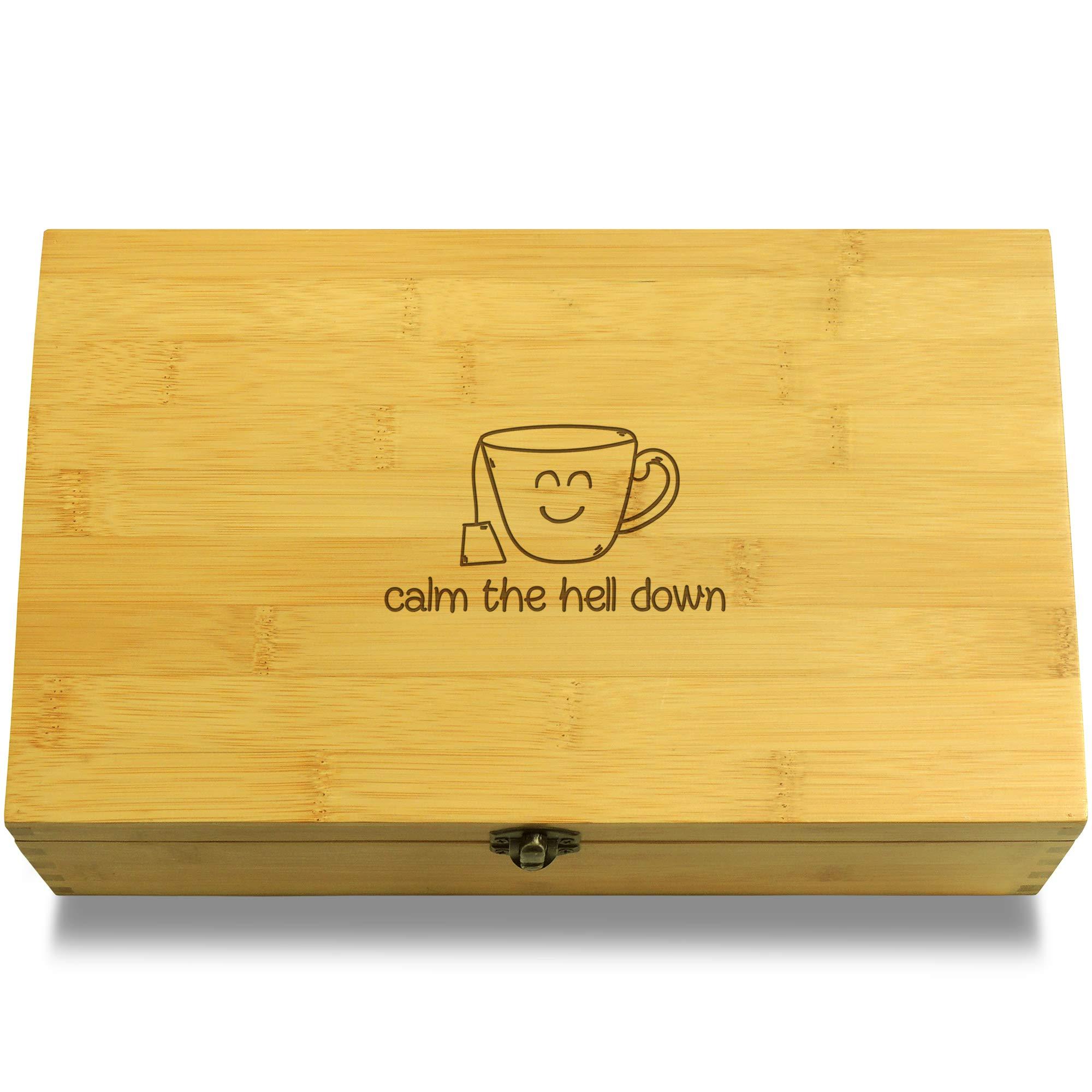 Cookbook People Calm Down Multikeep Tea Box - Decorative Bamboo Wood Adjustable Organizer