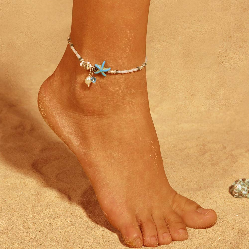 JOYID Fahion Conch Starfish Beads Anklet Female Bohemian Style Beach Foot Chain Jewelry for Women Girls