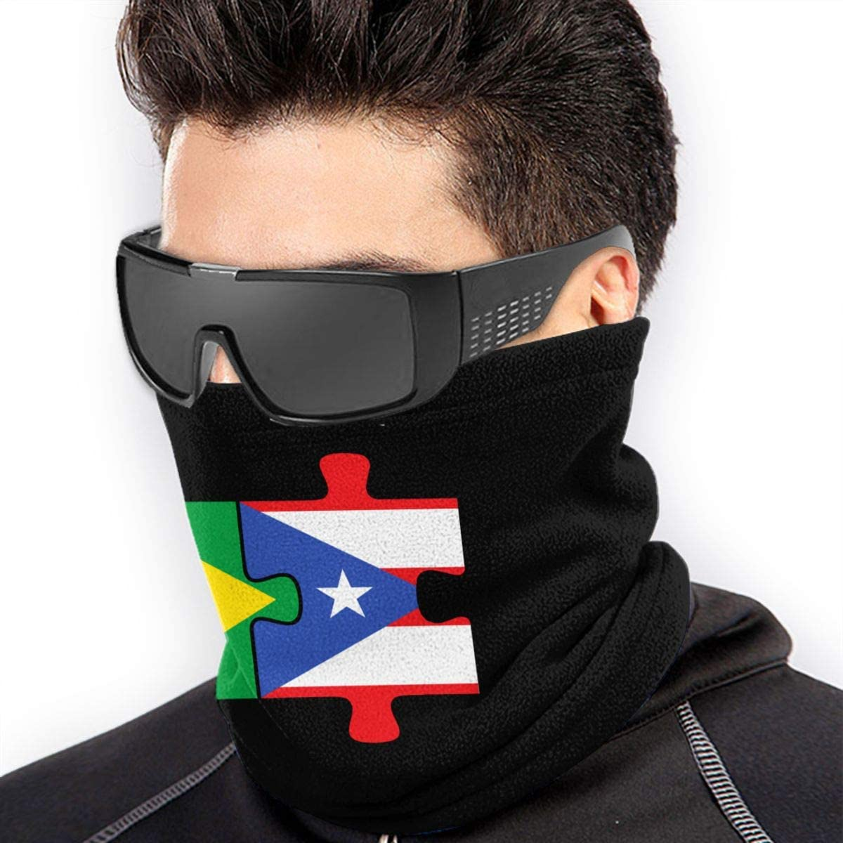 Brazil Puerto Rico Flags Puzzle Mens Womens Face Mask Windproof Neck Warmer Cold Weather Bandana For Fishing Motorcycling