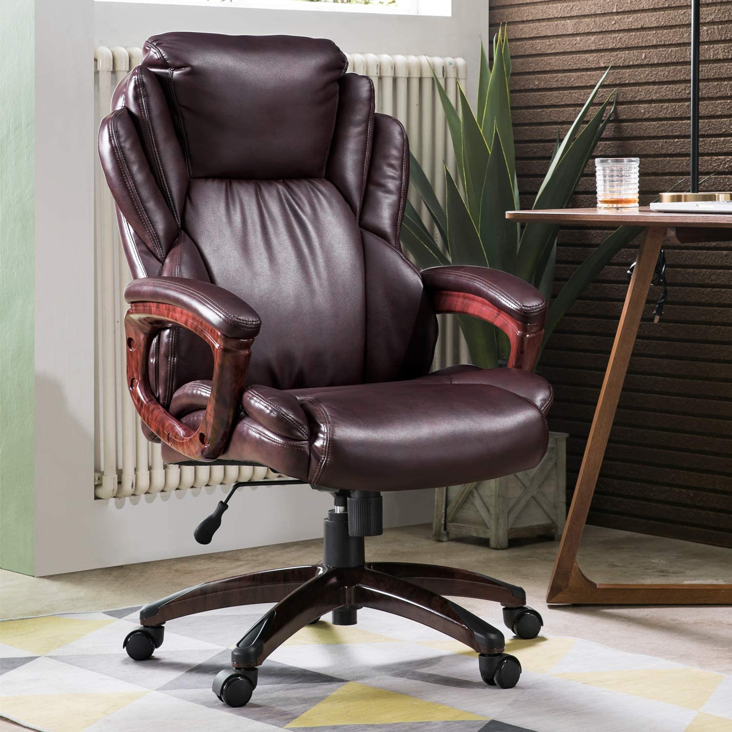 Amazon Com Ovios Executive Office Chair High Back Desk Chair Leather Computer Desk Chair For Home Office Dark Brown Kitchen Dining