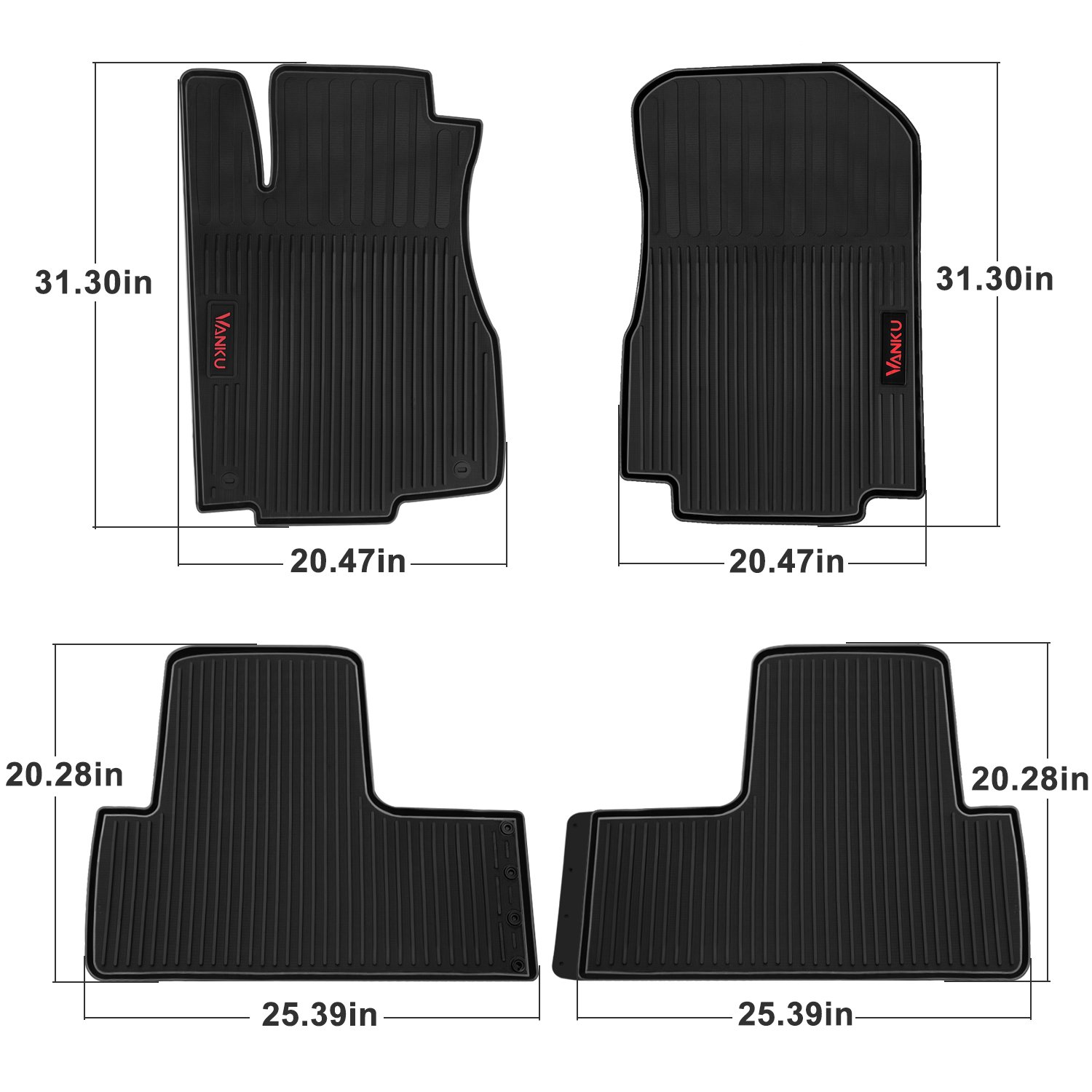2018 Vanku Complete Set Floor Mats for Tesla Model 3 2017 2019 with Cup and Center Console Liner Accessories Black