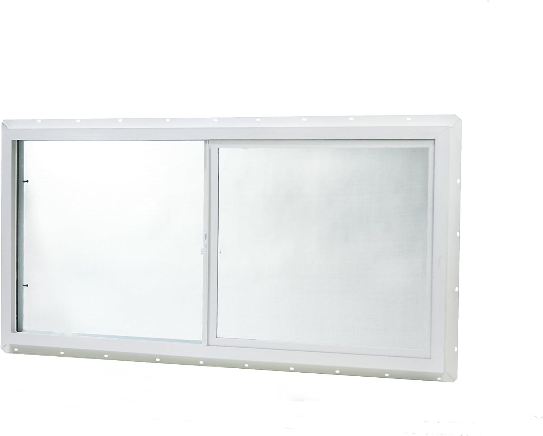 "Park Ridge Products VUSI4824PR Park Ridge Slider Utility Insulated Sliding Vinyl Window, 48"" x 24"", White"