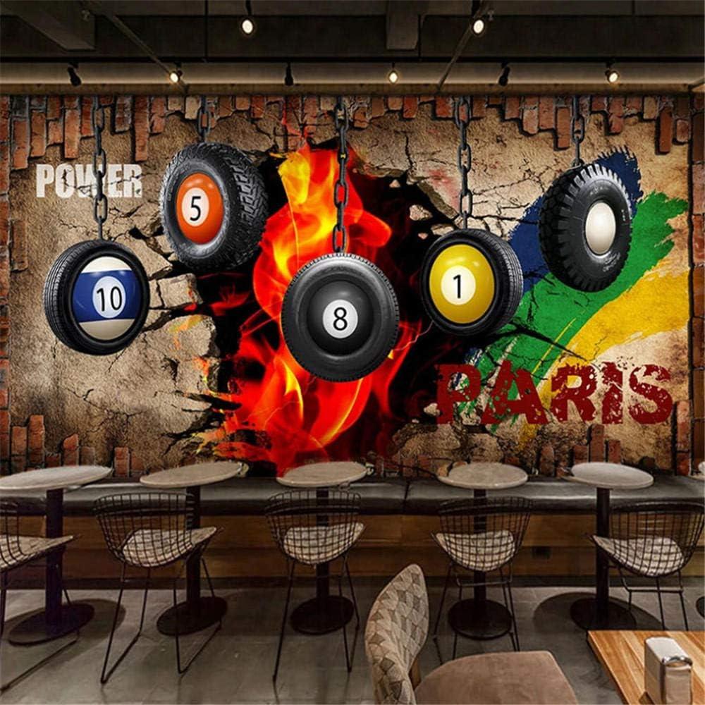 Qwerlp Papel Pintado Mural Personalizado 3D Retro Billar Pared De ...