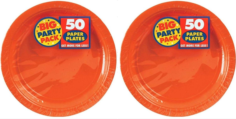 "Big Party Pack Orange Peel Paper Plates 9"", Pack of 100"