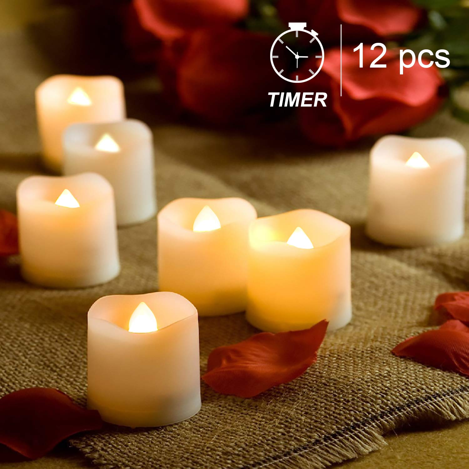 Homemory Timer Tea Lights Bulk, Set of 12 Warm White Flameless Candles, Flickering Battery Operated LED Tealights Candles, 1.57'' D x 1.37'' H, Ideal for Morrocan Lamps, Mason Jars, Pumpkin Lantern by Homemory