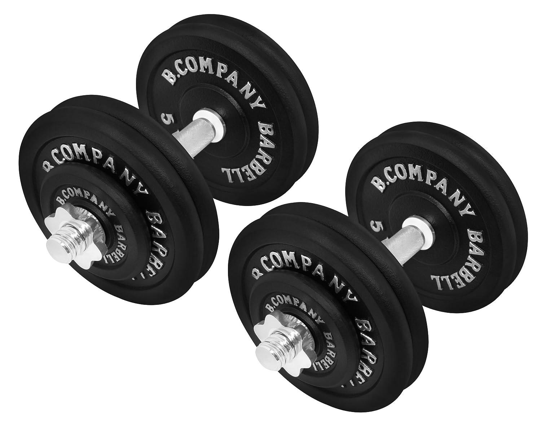 Bad Company Guss Kurzhantel-Set 50Kg (2 x Kurzhantelstange 35cm und 4x1,25 und 8x5Kg Hantelscheiben) Hantelset Hanteln Gewichte