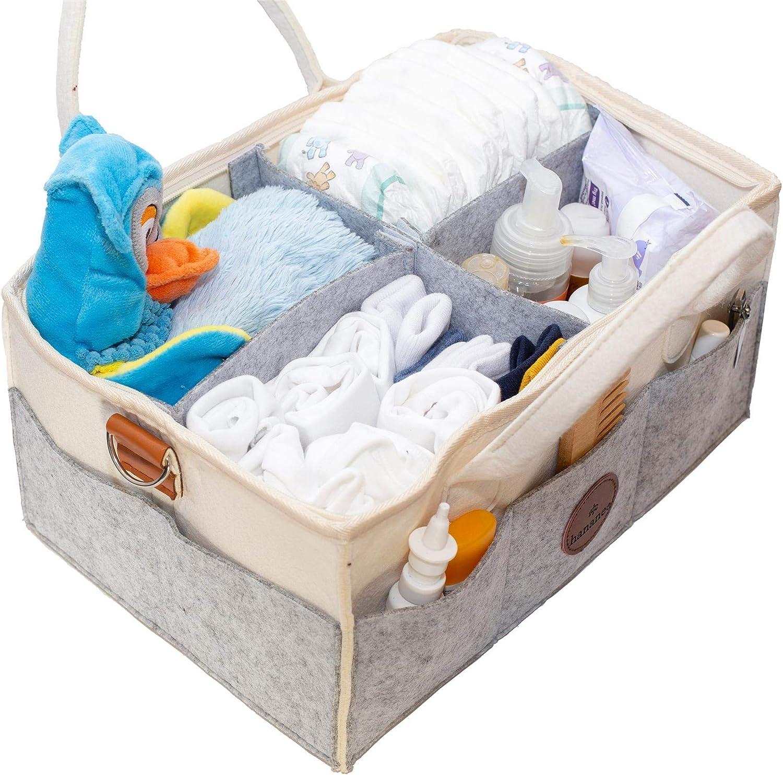 Hananee Baby Diaper Caddy Organizer Funda con cremallera completa para la higiene con 4 compartimentos Cambiador cambiante con asa de fieltro y correa de cuero