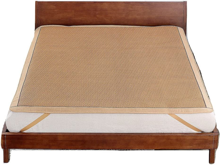 Qbedding Rattan Cooling Summer Sleeping Pad Mattress Topper (King, No Pillow Shams, Ancient)