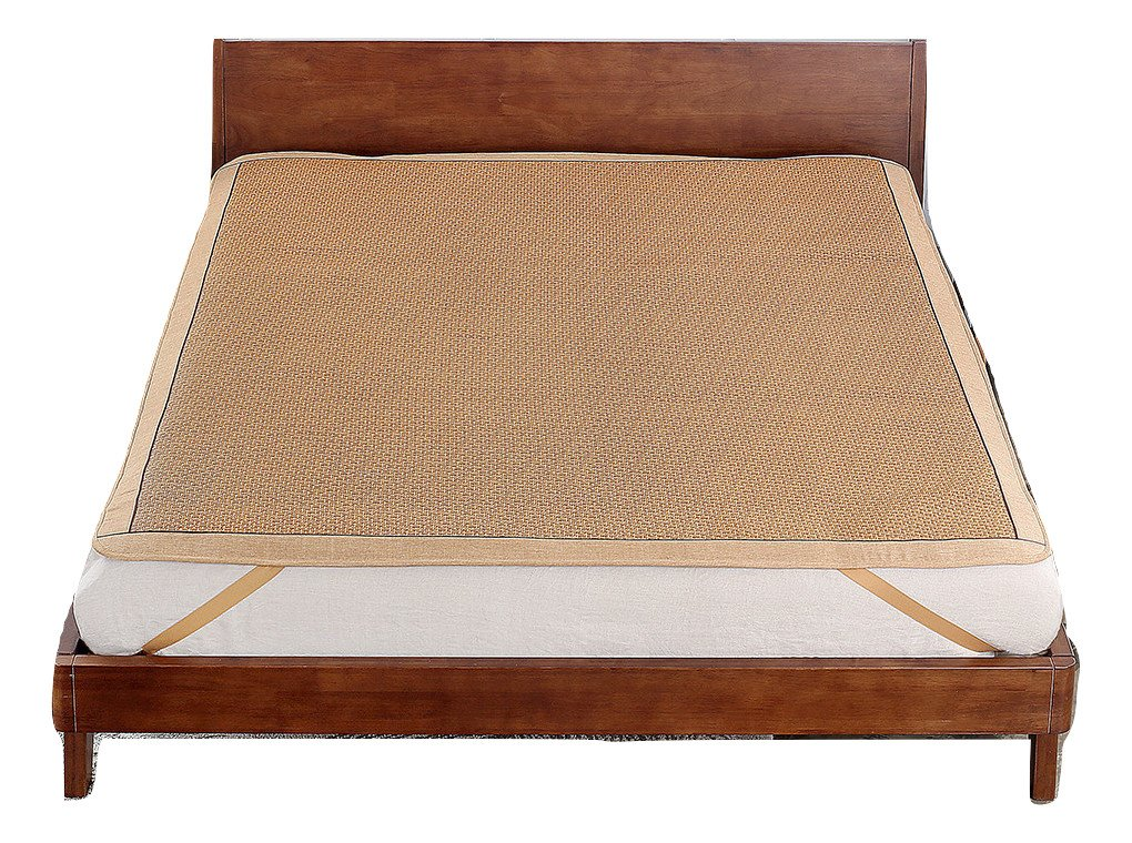 Qbedding Rattan Cooling Summer Sleeping Pad Mattress Topper (Full/Double, No Pillow Shams, Ancient)