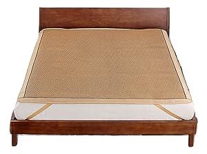 Qbedding Rattan Queen Size Cooling Summer Sleeping Pad Mattress Topper (No Pillow Shams)