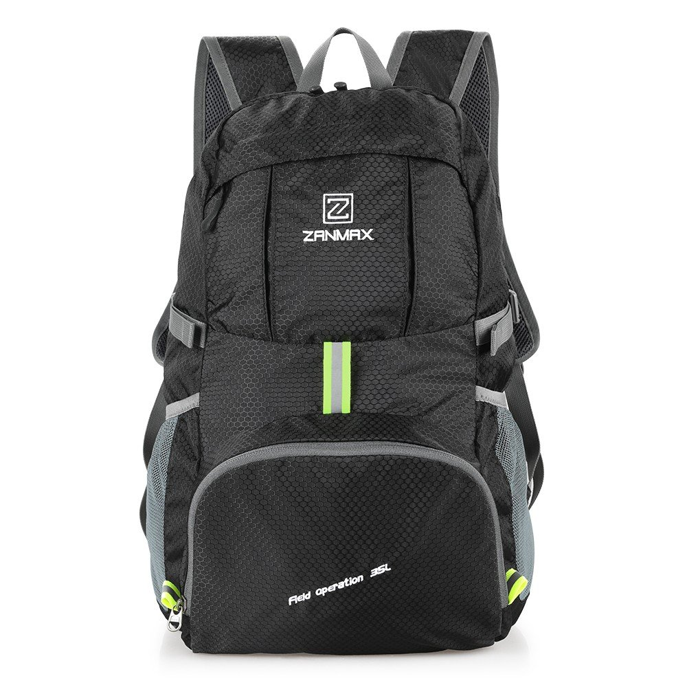 3ea532e0e870 Amazon.com   Z ZANMAX 35L Ultra Lightweight Packable Backpack Durable  Hiking Daypack Small Foldable Travel Backpack for Men Women(Black)   Sports    ...