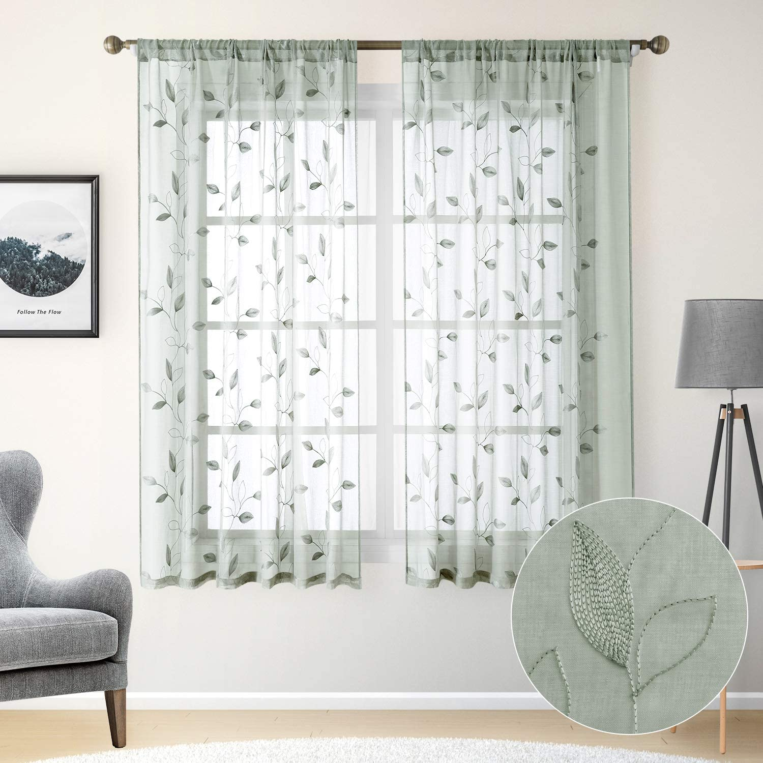 HOMEIDEAS Sage Green Sheer Curtains 52 X 63 Inches Length 2 Panels Embroidered Leaf Pattern Pocket Faux Linen Floral Semi Sheer Voile Window Curtains/Drapes for Bedroom Living Room