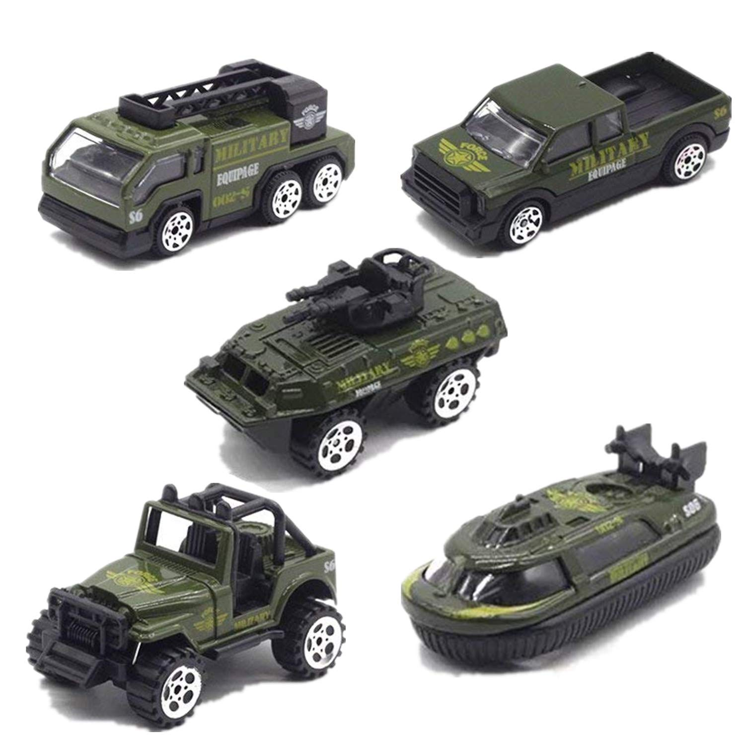 Toy Cars 5 Set Military Vehicles Die-cast Inertia Toy Play Set Vehicles for Kids VesipaFly