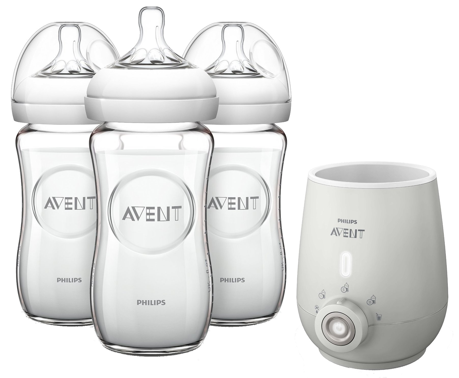 Philips AVENT Natural Glass 8 Ounce Bottles with Premium Bottle Warmer