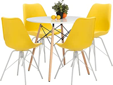 Amazon.com: Weinerbee Upholstered Dining Chairs Set of 4 ...